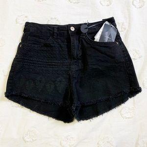 Zara High Waisted Embroidered Black Denim Shorts